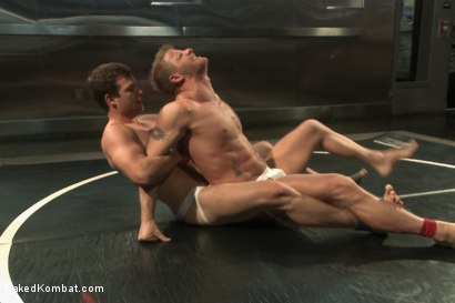 "Photo number 3 from ""The Swank"" vs ""Stonewall Stevens"" - Fight of the Century! shot for Naked Kombat on Kink.com. Featuring Jeremy Stevens and Hayden Richards in hardcore BDSM & Fetish porn."