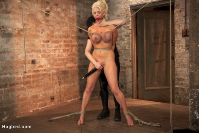Photo number 2 from Busty California Blonde Courtney Gets Bent, Fucked & Challenged! shot for Hogtied on Kink.com. Featuring Courtney Taylor in hardcore BDSM & Fetish porn.
