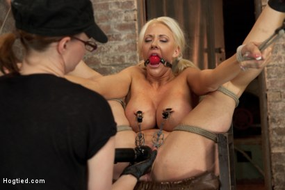 Photo number 6 from Busty California Blonde Courtney Gets Bent, Fucked & Challenged! shot for Hogtied on Kink.com. Featuring Courtney Taylor in hardcore BDSM & Fetish porn.