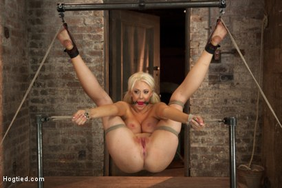 Photo number 11 from Busty California Blonde Courtney Gets Bent, Fucked & Challenged! shot for Hogtied on Kink.com. Featuring Courtney Taylor in hardcore BDSM & Fetish porn.