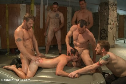 Photo number 7 from Sexy Stud's Wet and Wild Fantasy  shot for Bound in Public on Kink.com. Featuring Jeremy Stevens, Cameron Kincade and Jason Miller in hardcore BDSM & Fetish porn.