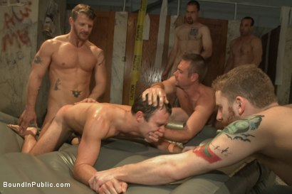 Photo number 9 from Sexy Stud's Wet and Wild Fantasy  shot for Bound in Public on Kink.com. Featuring Jeremy Stevens, Cameron Kincade and Jason Miller in hardcore BDSM & Fetish porn.