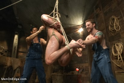 Photo number 8 from Hairy Muscle Hunk Has His Cock Edged By Two Farmers shot for Men On Edge on Kink.com. Featuring Brayden Forrester in hardcore BDSM & Fetish porn.