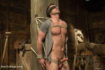 Hairy Muscle Hunk Has His Cock Edged By Two Farmers