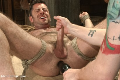 Photo number 13 from Hairy Muscle Hunk Has His Cock Edged By Two Farmers shot for Men On Edge on Kink.com. Featuring Brayden Forrester in hardcore BDSM & Fetish porn.