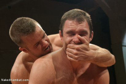 "Photo number 14 from Cameron ""The Kin-Killer-Cade"" vs Connor ""The Pulverizer"" Patricks  shot for Naked Kombat on Kink.com. Featuring Connor Patricks and Cameron Kincade in hardcore BDSM & Fetish porn."