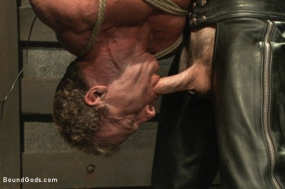 Photo number 9 from Indestructible Derek Pain  shot for Bound Gods on Kink.com. Featuring Derek Pain, Van Darkholme and Rowen Jackson in hardcore BDSM & Fetish porn.