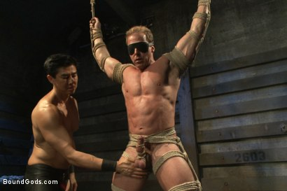 Photo number 1 from Indestructible Derek Pain  shot for Bound Gods on Kink.com. Featuring Derek Pain, Van Darkholme and Rowen Jackson in hardcore BDSM & Fetish porn.