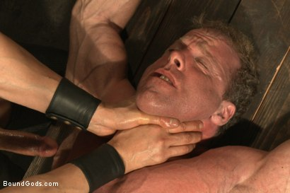 Photo number 14 from Indestructible Derek Pain  shot for Bound Gods on Kink.com. Featuring Derek Pain, Van Darkholme and Rowen Jackson in hardcore BDSM & Fetish porn.