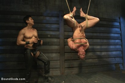 Photo number 10 from Indestructible Derek Pain  shot for Bound Gods on Kink.com. Featuring Derek Pain, Van Darkholme and Rowen Jackson in hardcore BDSM & Fetish porn.