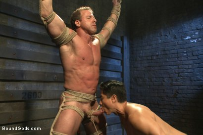 Photo number 3 from Indestructible Derek Pain  shot for Bound Gods on Kink.com. Featuring Derek Pain, Van Darkholme and Rowen Jackson in hardcore BDSM & Fetish porn.