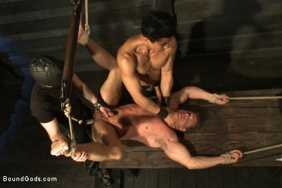 Photo number 12 from Indestructible Derek Pain  shot for Bound Gods on Kink.com. Featuring Derek Pain, Van Darkholme and Rowen Jackson in hardcore BDSM & Fetish porn.
