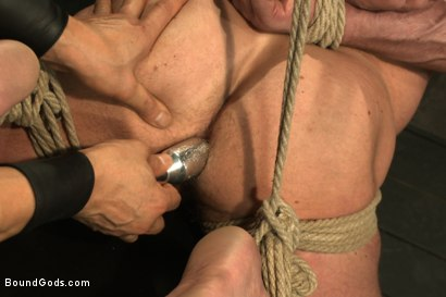Photo number 4 from Indestructible Derek Pain  shot for Bound Gods on Kink.com. Featuring Derek Pain, Van Darkholme and Rowen Jackson in hardcore BDSM & Fetish porn.
