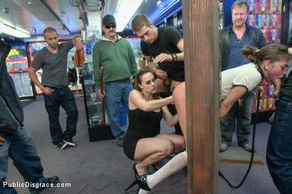 Photo number 7 from Pretty Little Fuck Doll: Riley Reid's Public Disgrace!! shot for Public Disgrace on Kink.com. Featuring Riley Reid, Xander Corvus and Chanel Preston in hardcore BDSM & Fetish porn.