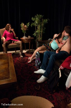 Photo number 2 from TS THREESOME: SEDUCING & FUCKING THE BLACKMAILING COLLEGE DEAN shot for TS Seduction on Kink.com. Featuring Francesca Le , Venus Lux and Sebastian Keys in hardcore BDSM & Fetish porn.