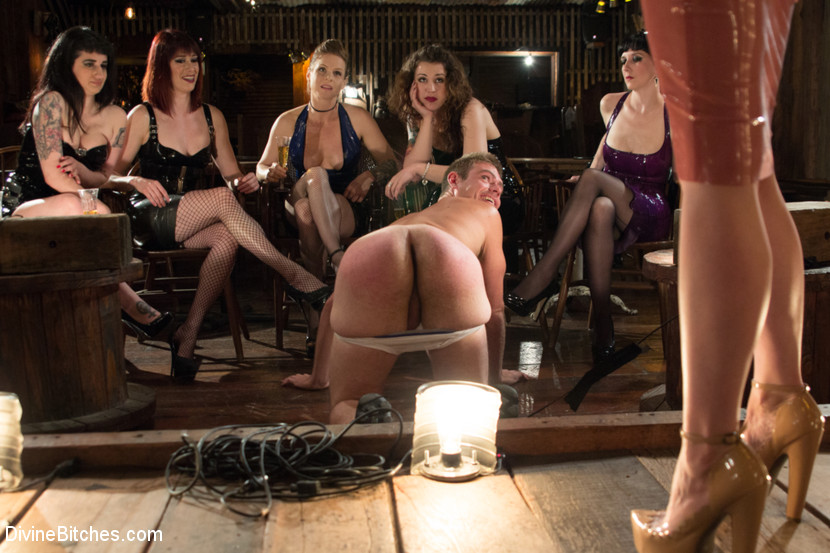 Femdom group of slaves share