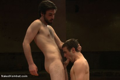 """Photo number 10 from Rowen """"The Jackhammer"""" Jackson vs Andrew """"The Assassin"""" Collins  shot for Naked Kombat on Kink.com. Featuring Rowen Jackson and Andrew Collins in hardcore BDSM & Fetish porn."""