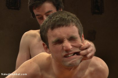 """Photo number 11 from Rowen """"The Jackhammer"""" Jackson vs Andrew """"The Assassin"""" Collins  shot for Naked Kombat on Kink.com. Featuring Rowen Jackson and Andrew Collins in hardcore BDSM & Fetish porn."""