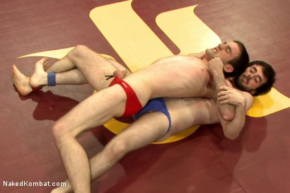 """Photo number 1 from Rowen """"The Jackhammer"""" Jackson vs Andrew """"The Assassin"""" Collins  shot for Naked Kombat on Kink.com. Featuring Rowen Jackson and Andrew Collins in hardcore BDSM & Fetish porn."""