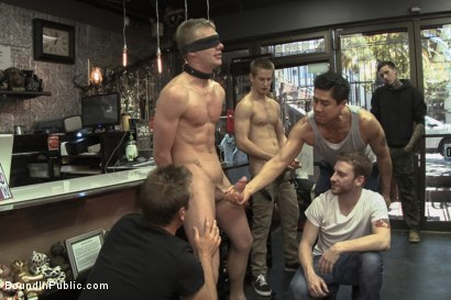 Photo number 5 from Ripped, hung stud gets used and abused in a clothing store shot for Bound in Public on Kink.com. Featuring Jacques LaVere, Johnny Parker, Justin Chase and Rowen Jackson in hardcore BDSM & Fetish porn.