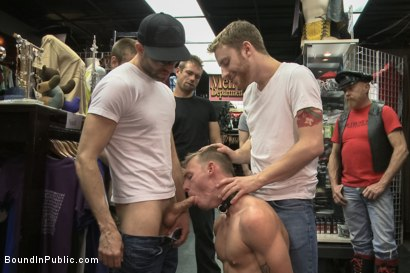 Photo number 1 from Ripped, hung stud gets used and abused in a clothing store shot for Bound in Public on Kink.com. Featuring Jacques LaVere, Johnny Parker, Justin Chase and Rowen Jackson in hardcore BDSM & Fetish porn.