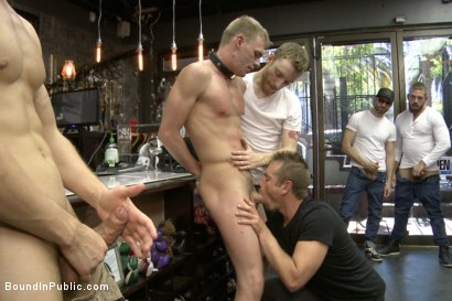 Photo number 8 from Ripped, hung stud gets used and abused in a clothing store shot for Bound in Public on Kink.com. Featuring Jacques LaVere, Johnny Parker, Justin Chase and Rowen Jackson in hardcore BDSM & Fetish porn.