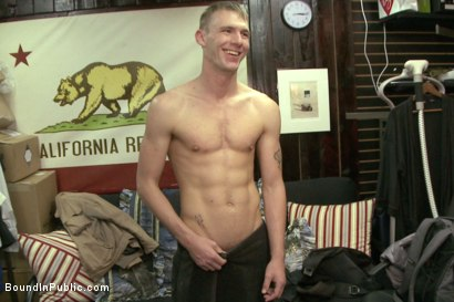 Photo number 15 from Ripped, hung stud gets used and abused in a clothing store shot for Bound in Public on Kink.com. Featuring Jacques LaVere, Johnny Parker, Justin Chase and Rowen Jackson in hardcore BDSM & Fetish porn.