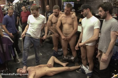 Photo number 14 from Ripped, hung stud gets used and abused in a clothing store shot for Bound in Public on Kink.com. Featuring Jacques LaVere, Johnny Parker, Justin Chase and Rowen Jackson in hardcore BDSM & Fetish porn.