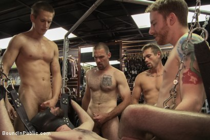 Photo number 13 from The BIP doms take down one of their own in a local clothing store shot for Bound in Public on Kink.com. Featuring Jacques LaVere and Rowen Jackson in hardcore BDSM & Fetish porn.