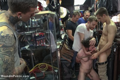 Photo number 2 from The BIP doms take down one of their own in a local clothing store shot for Bound in Public on Kink.com. Featuring Jacques LaVere and Rowen Jackson in hardcore BDSM & Fetish porn.