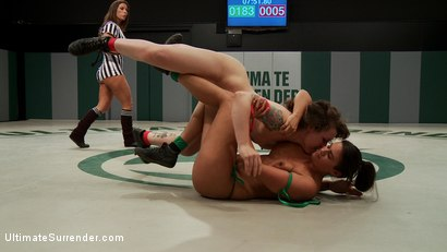 Photo number 15 from Summer Vengeance wrestlers ranked 10th and 9th meet on the mats shot for Ultimate Surrender on Kink.com. Featuring Penny Barber and Elizabeth Thorn in hardcore BDSM & Fetish porn.