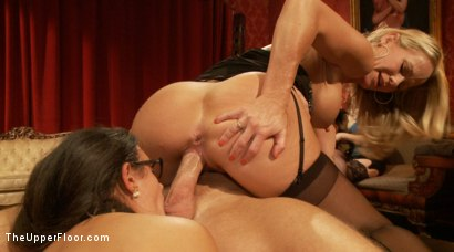 Photo number 7 from Anal Slave Meets the Household, and a Gorgeous Guest is Ass Fucked shot for The Upper Floor on Kink.com. Featuring Penny Barber, Bill Bailey and Simone Sonay in hardcore BDSM & Fetish porn.