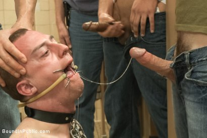 Photo number 2 from Ultimate Humiliation, Beating and Gang Fuck  shot for Bound in Public on Kink.com. Featuring Holden Phillips and Adam Herst in hardcore BDSM & Fetish porn.