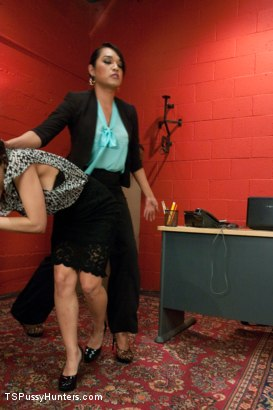 Photo number 3 from Busted Watching Porn at Work-Boss Punishes Bad Employee w/Her Own Cock shot for TS Pussy Hunters on Kink.com. Featuring Aleksa Nicole and Jessica Fox in hardcore BDSM & Fetish porn.