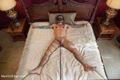 Photo number 13 from Straight stud endures relentless edging, tight bondage and tickle torment shot for Men On Edge on Kink.com. Featuring Atticus in hardcore BDSM & Fetish porn.