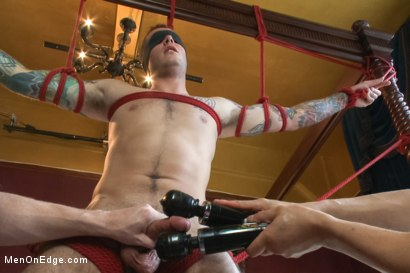 Photo number 5 from Straight stud endures relentless edging, tight bondage and tickle torment shot for Men On Edge on Kink.com. Featuring Atticus in hardcore BDSM & Fetish porn.