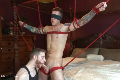 Photo number 6 from Straight stud endures relentless edging, tight bondage and tickle torment shot for Men On Edge on Kink.com. Featuring Atticus in hardcore BDSM & Fetish porn.