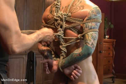 Photo number 7 from Straight stud endures relentless edging, tight bondage and tickle torment shot for Men On Edge on Kink.com. Featuring Atticus in hardcore BDSM & Fetish porn.