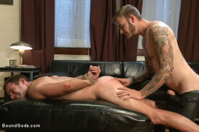Photo number 10 from Leather Daddy makes a bondage house call shot for Bound Gods on Kink.com. Featuring Christian Wilde and Cameron Kincade in hardcore BDSM & Fetish porn.