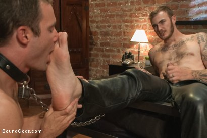 Photo number 7 from Leather Daddy makes a bondage house call shot for Bound Gods on Kink.com. Featuring Christian Wilde and Cameron Kincade in hardcore BDSM & Fetish porn.