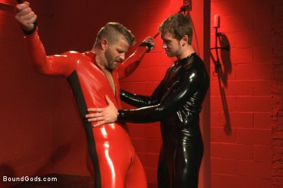 Photo number 1 from Infiltrating A Redz Lair  shot for Bound Gods on Kink.com. Featuring Jeremy Stevens and Connor Maguire in hardcore BDSM & Fetish porn.