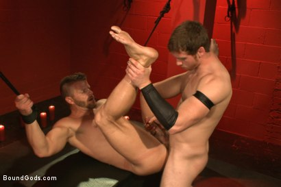 Photo number 13 from Infiltrating A Redz Lair  shot for Bound Gods on Kink.com. Featuring Jeremy Stevens and Connor Maguire in hardcore BDSM & Fetish porn.