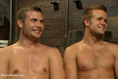 Photo number 15 from Horny Dockworkers and The Bondage Shipment shot for Bound Gods on Kink.com. Featuring Connor Patricks and Hayden Richards in hardcore BDSM & Fetish porn.