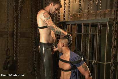Photo number 4 from Christian Wilde beats, torments, and fucks his body builder captive shot for Bound Gods on Kink.com. Featuring Christian Wilde and Robert Axel in hardcore BDSM & Fetish porn.