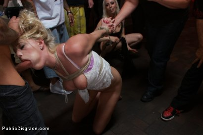 Beautiful Petite Blonde Tied-Up and Fisted in Public