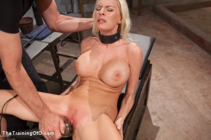 Photo number 14 from The Training of a Big Tit, Bleach Blonde Porn Star, Day One shot for The Training Of O on Kink.com. Featuring Riley Evans in hardcore BDSM & Fetish porn.