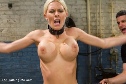 Photo number 3 from The Dismissal of a Big Tit, Bleach Blonde Porn Star shot for The Training Of O on Kink.com. Featuring Riley Evans and Johnny Ruiz in hardcore BDSM & Fetish porn.