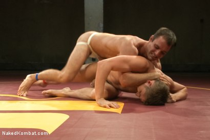 """Photo number 3 from Cameron """"The Kin-Killer-Cade"""" vs Dayton """"The Doc"""" O'Connor  shot for nakedkombat on Kink.com. Featuring Dayton O'Connor and Cameron Kincade in hardcore BDSM & Fetish porn."""