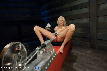 Photo number 3 from Riled up Blonde Hottie Machine Plowed Till her Fake Tits Jiggle shot for Fucking Machines on Kink.com. Featuring Riley Evans in hardcore BDSM & Fetish porn.