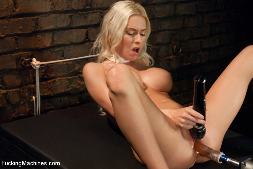 Riled up Blonde Hottie Machine Plowed Till her Fake Tits Jiggle